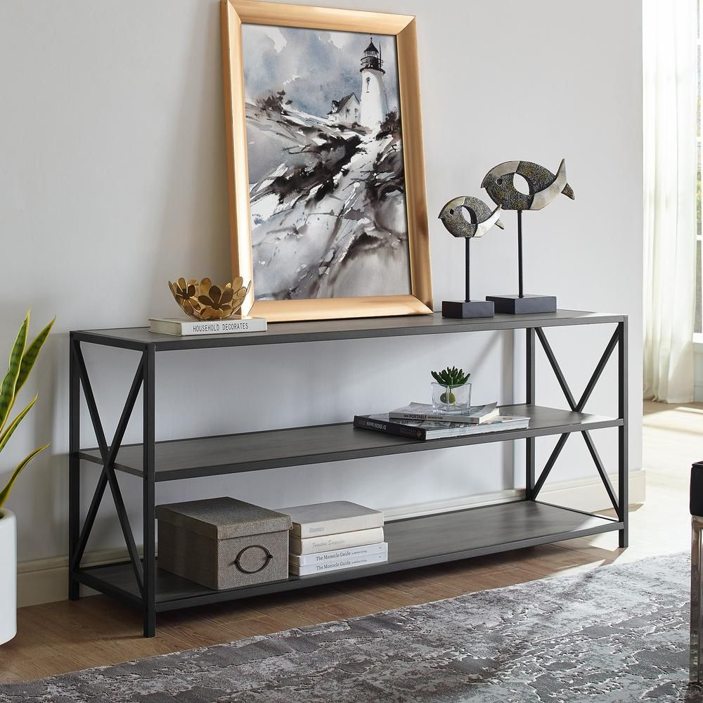 Walker Edison Furniture Company 26 in. Slate Gray/Black Metal 3-shelf Etagere Bookcase with Open Back-HDS60XMWSG - The Home Depot
