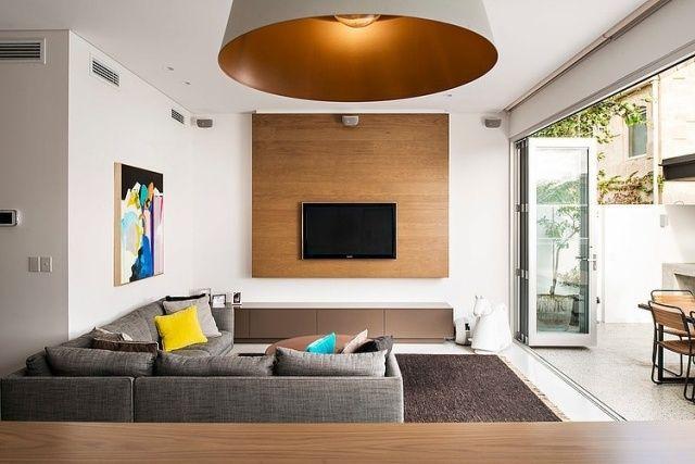 modernes wohnzimmer grau holztöne haus zugang terrasse | living room ...