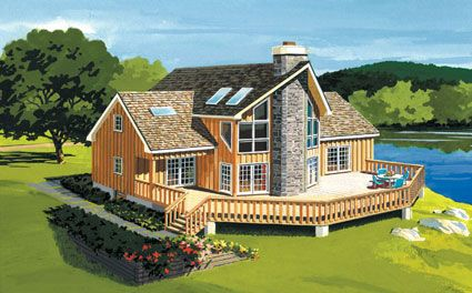 Large deck for relaxing in the great outdoors vacation house plan 431004 vacation home - Summer house plans delight relaxation ...