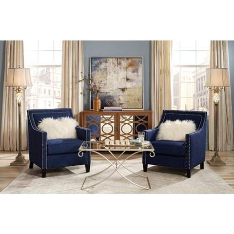 Flynn Navy Blue Upholstered Armchair 4w442 Lamps Plus Blue