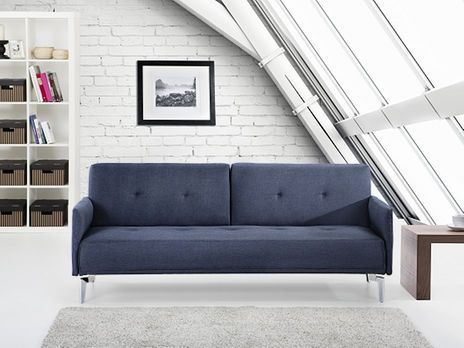 Beliani Lucan (4-Sitzer, Dunkelblau) | Schlafsofa, Couch und Dunkelblau