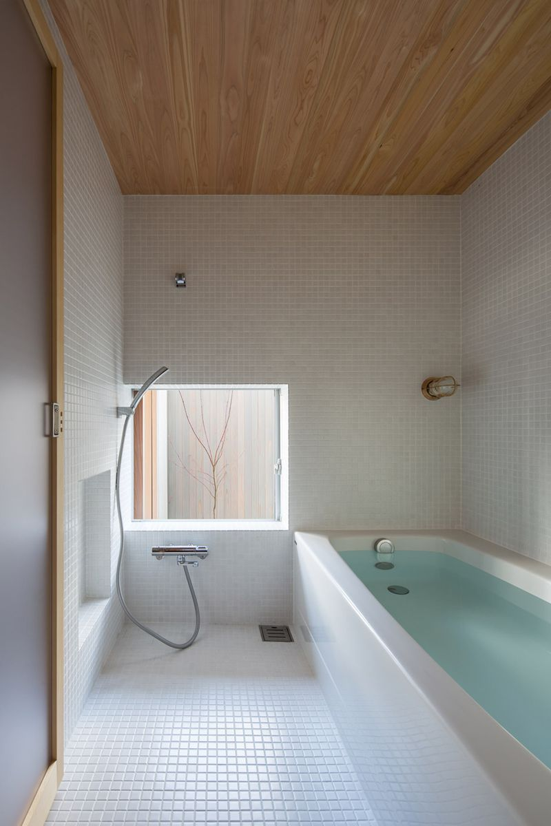 Bathroom Japan plywood interiors provide compact japanese house storage, cozy