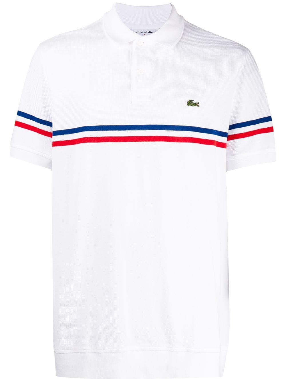 Contrast Stripe Polo Shirt In White Striped Polo Shirt Polo