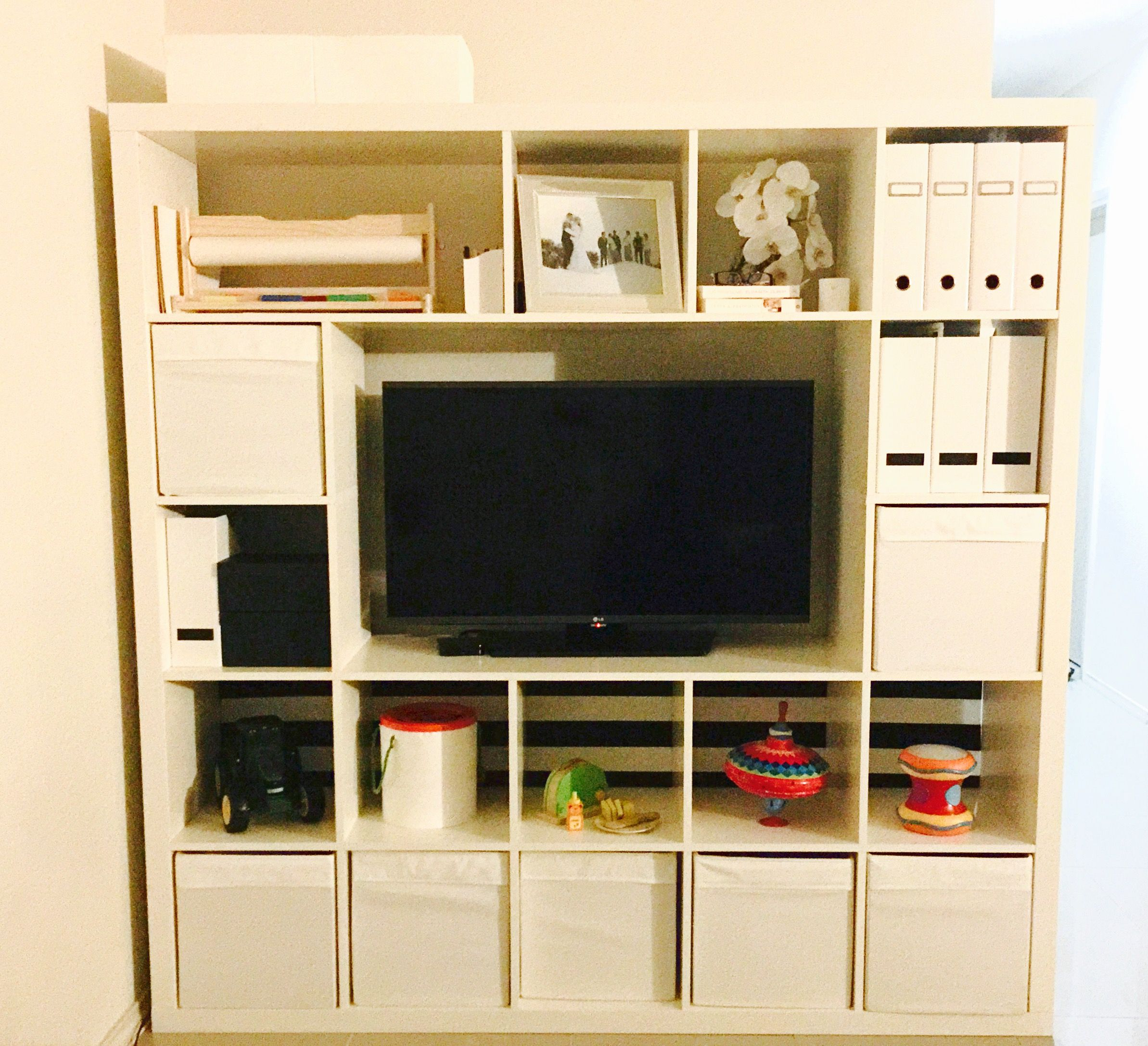 ikea hack 5 x 5 expedit kallax shelves minus a few. Black Bedroom Furniture Sets. Home Design Ideas