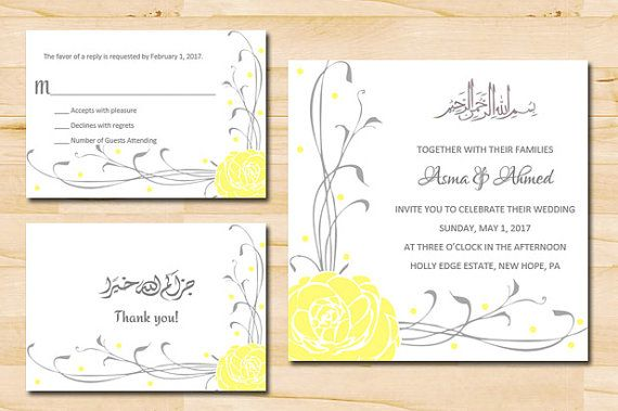 Lemon Rose Bilingual Arabic English Wedding Invitation