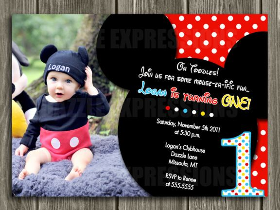 Printable Mickey Mouse Birthday Invitation First Birthday Party - Digital first birthday invitation