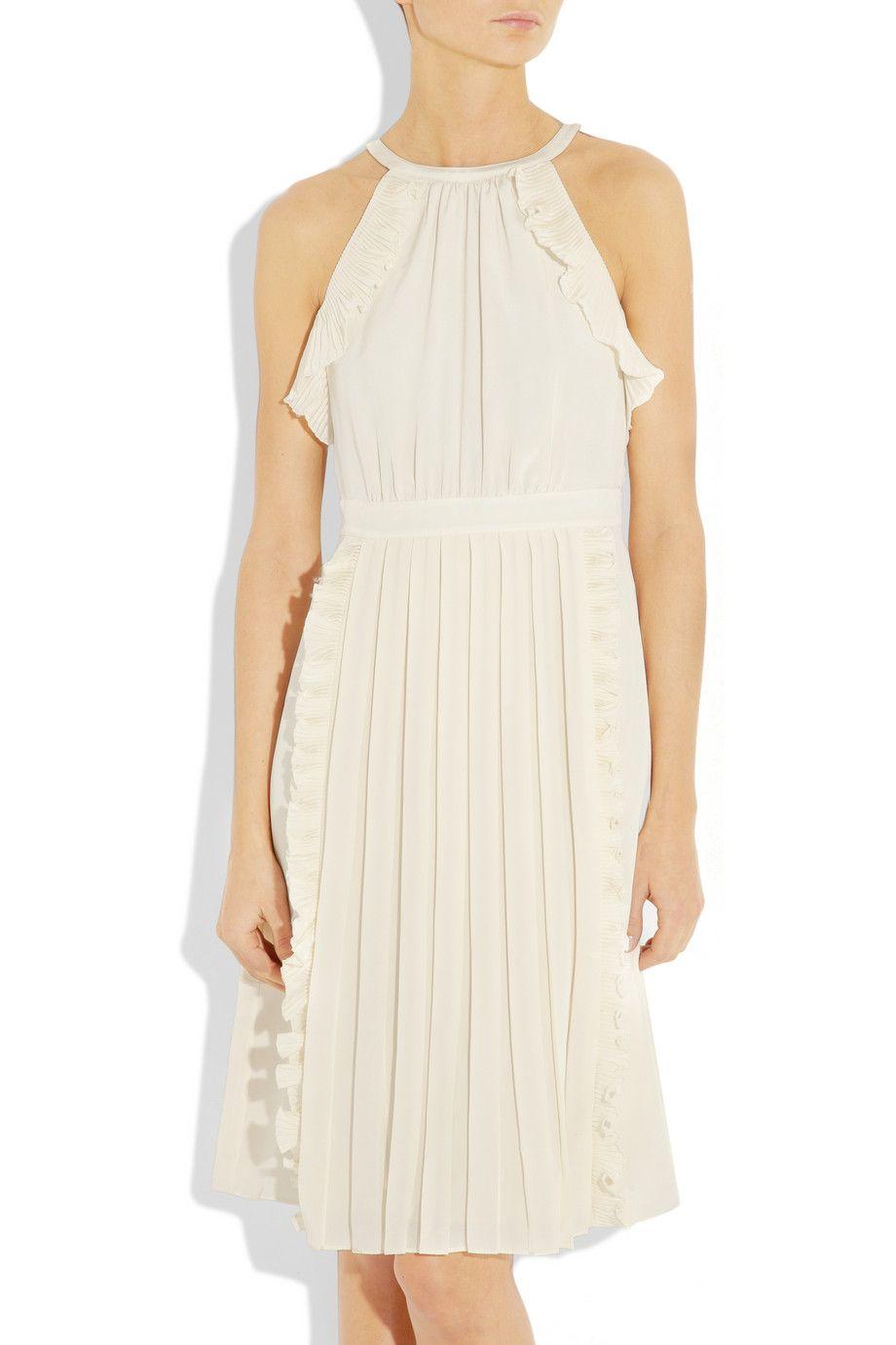 TIBI  Ruffled silk crepe de chine dress