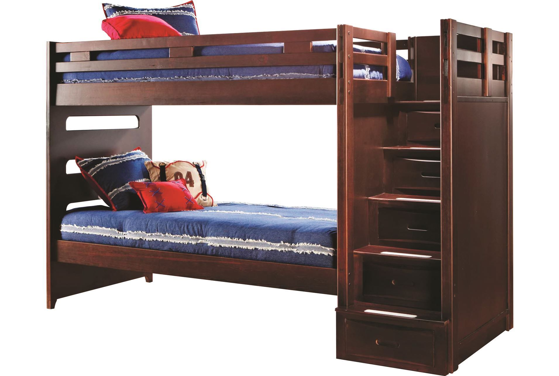 Varsity Cherry Twin Twin Bunk Bed W Stairway Loft Bed