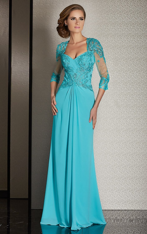 Elegant 3/4 Sleeves Chiffon Mother Of The Bride Dress   Bride ...