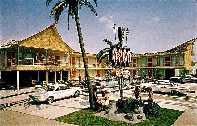 Rooms: Tahiti Motel, Wildwood Crest, New Jersey ..postcard C1965