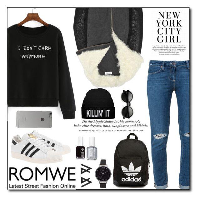 """ROMWE-Black"" by jmagambetova ❤ liked on Polyvore featuring Paige Denim, adidas Originals, Olivia Burton, H&M, Essie, Incase, romwe and fashionset"