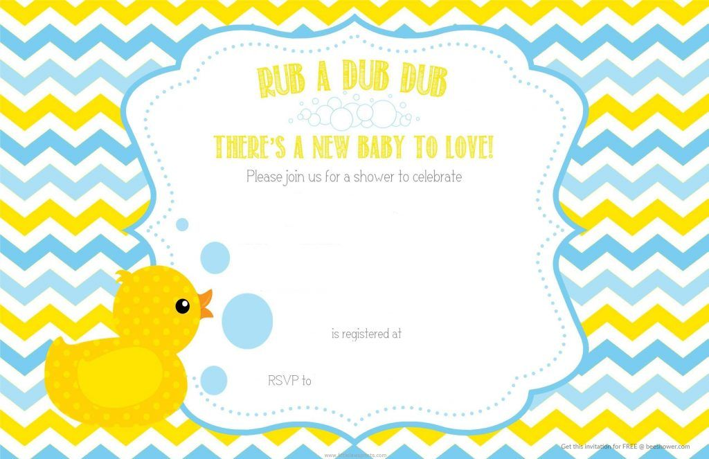 Free Printable Duck Baby Shower Chevron Invitation