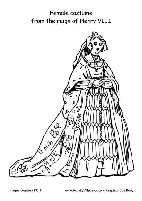 Female costume Reign of Henry VIII colouring page oktouse