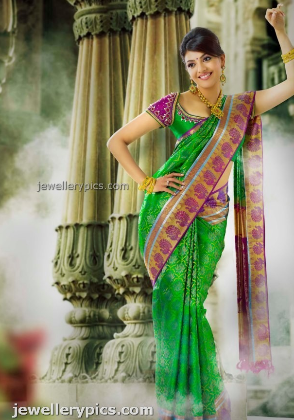 ad3cb20a211417 Kajal Agarwal in bridal jewellery silk saree for chennai Silks - Latest  Jewellery Designs