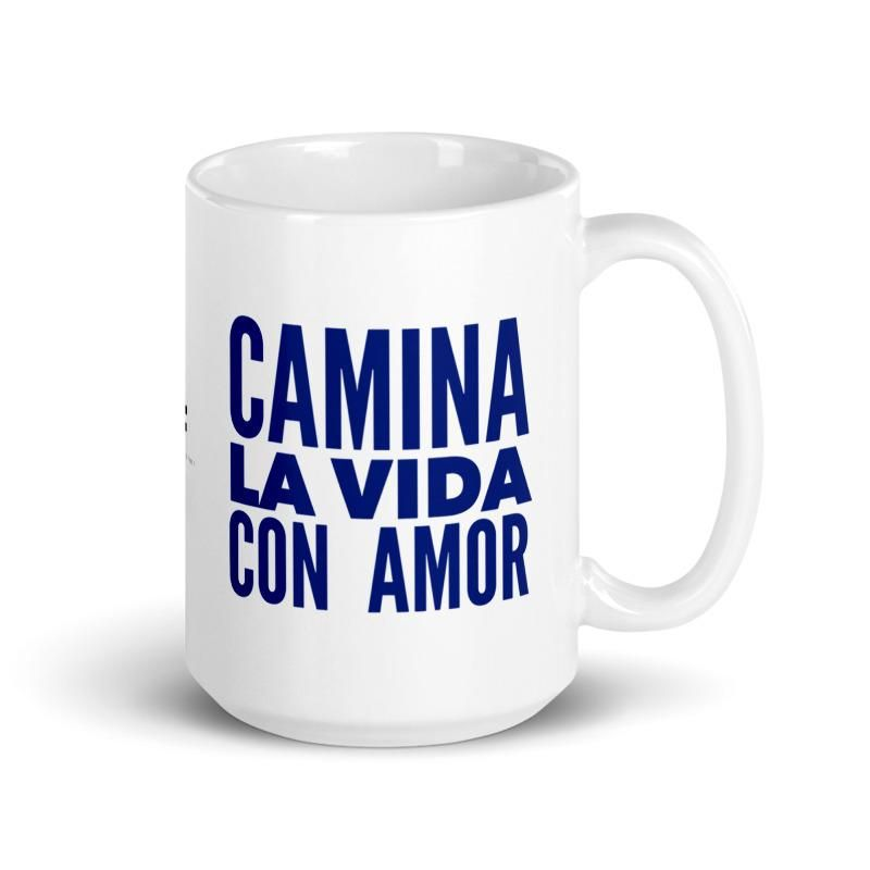 "🇺🇸 This stylish mug is perfect for shoes lovers who want to add a touch of fun to their morning coffee or afternoon tea. This white glossy cup features ""Amor Walk"" an original illustration by artist Roxana Frontini on one side, and the phrase ""Walk Life With Love"" in Spanish on the other side. The sexy heel featured on this illustration is blue, with a pink heart and the word love written in spanish (amor). Keep reading to discover the message behind this illustration. Everything in our design"