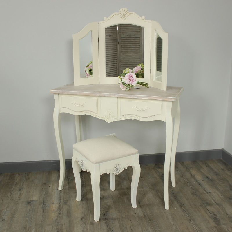 Belfort Range Cream  Drawer Dressing Table Stool And Triple Mirror From Www Melodymaison Co Uk Dressing Table Styling Pinterest Dressing Tables