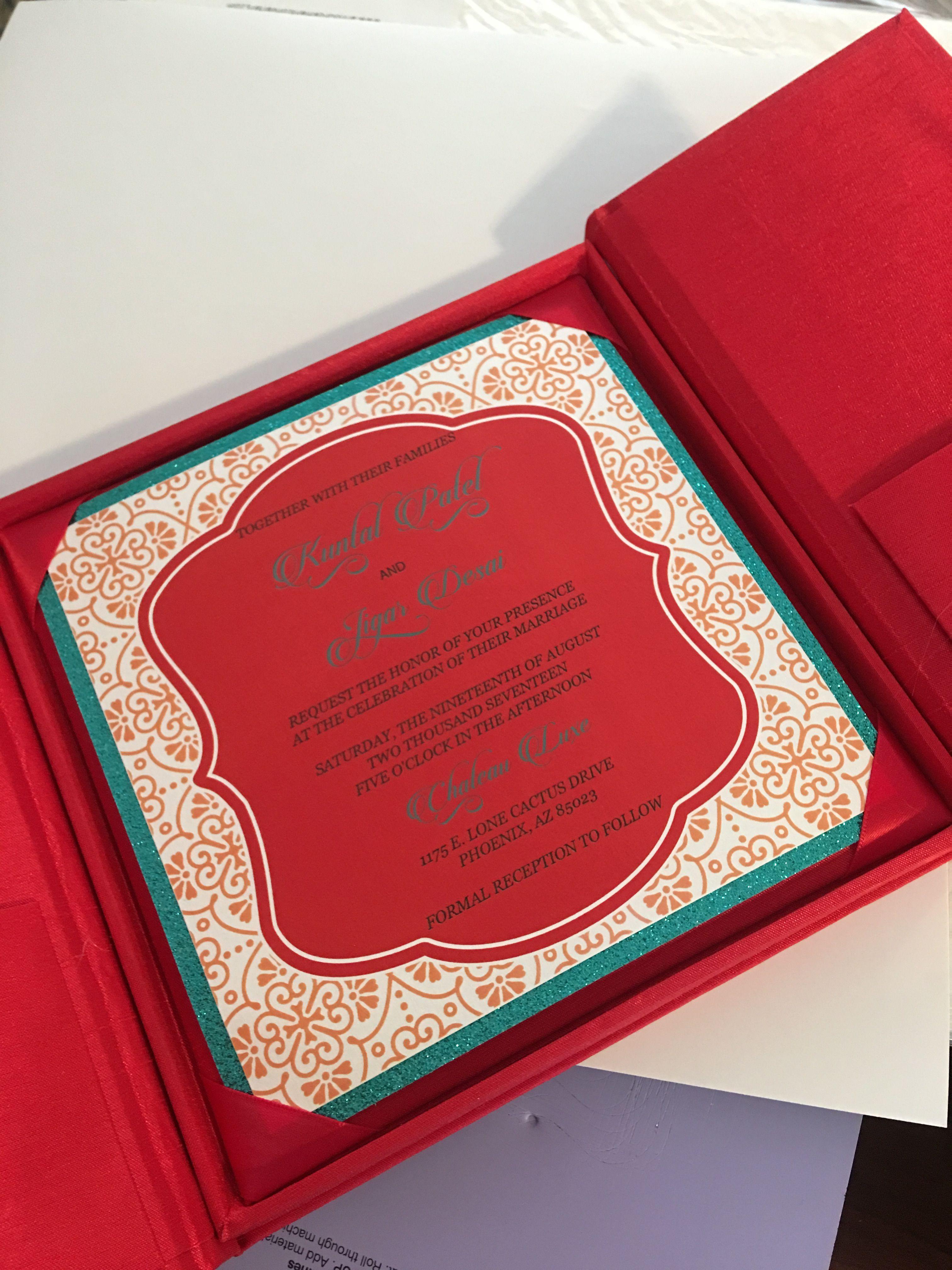 Indian wedding invitation card in a box #indianweddinginvitations ...