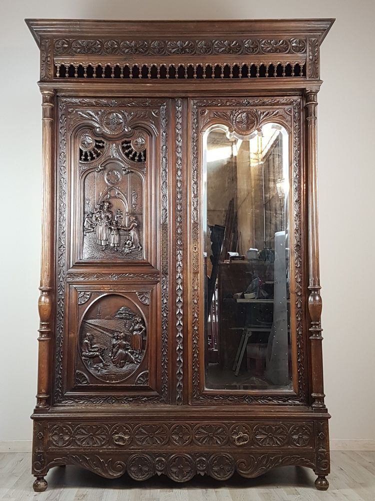 19th c large antique french renaissance carved armoire wardrobe 2 door ebay