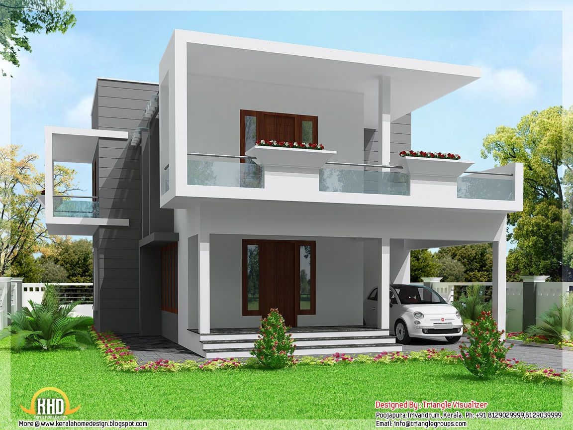 2004 square feet 3 bedroom modern flat roof home design by triangle visualizer trivandrum kerala