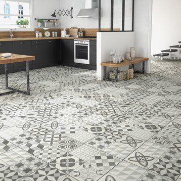 Carrelage sol gris effet ciment Ruban l45 x L45 cm salle de