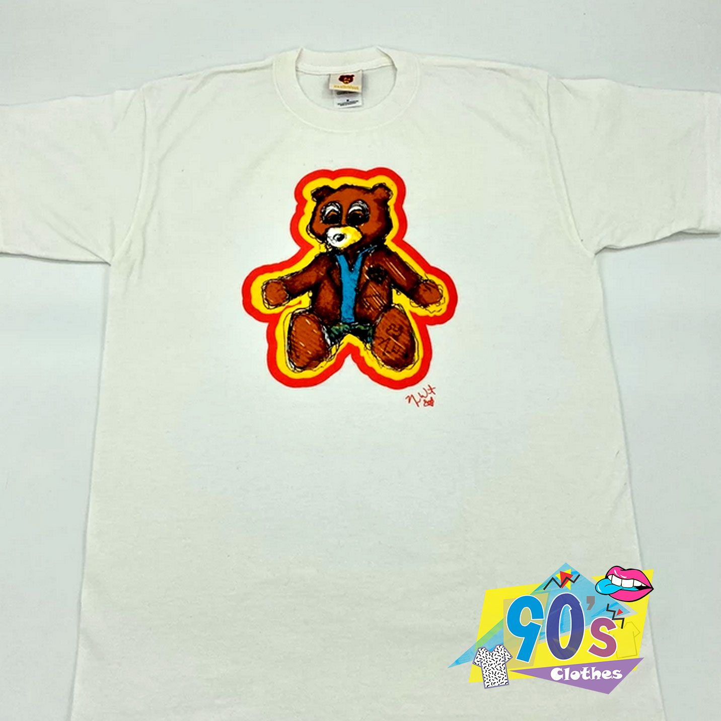 Vintage Kanye West Dropout Bear Sketch T Shirt 90sclothes Com In 2020 90s Shirt Vintage Bear Sketch Shirt Designs
