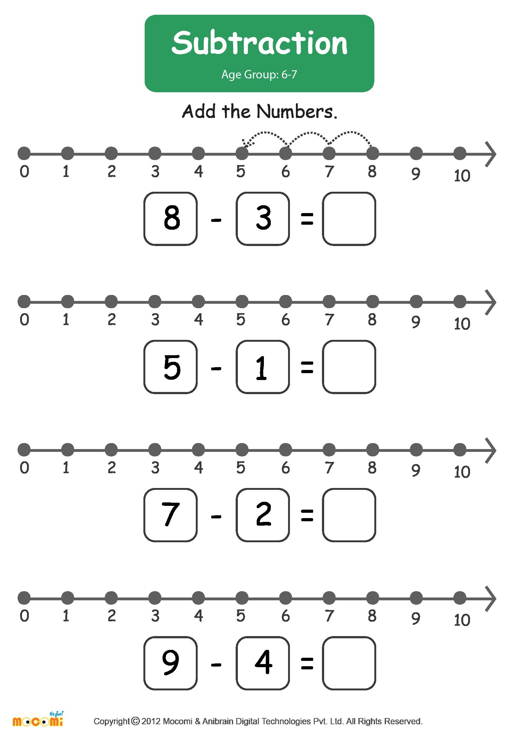 Subtraction Worksheet 01