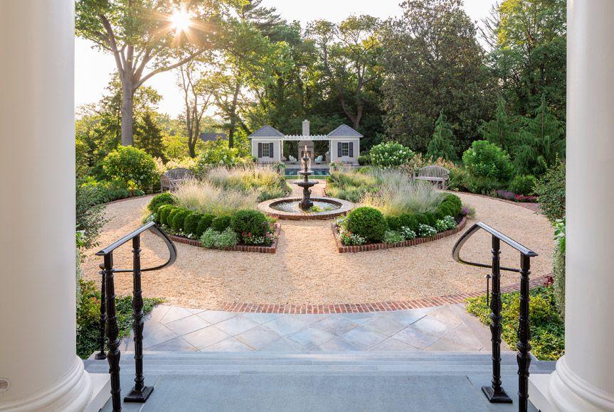 Estate Landscape In Alexandria Va Custom Pool Houses Fountain Garden Virginia Estate Gardens Garden Fountains Estate Garden Landscape Design