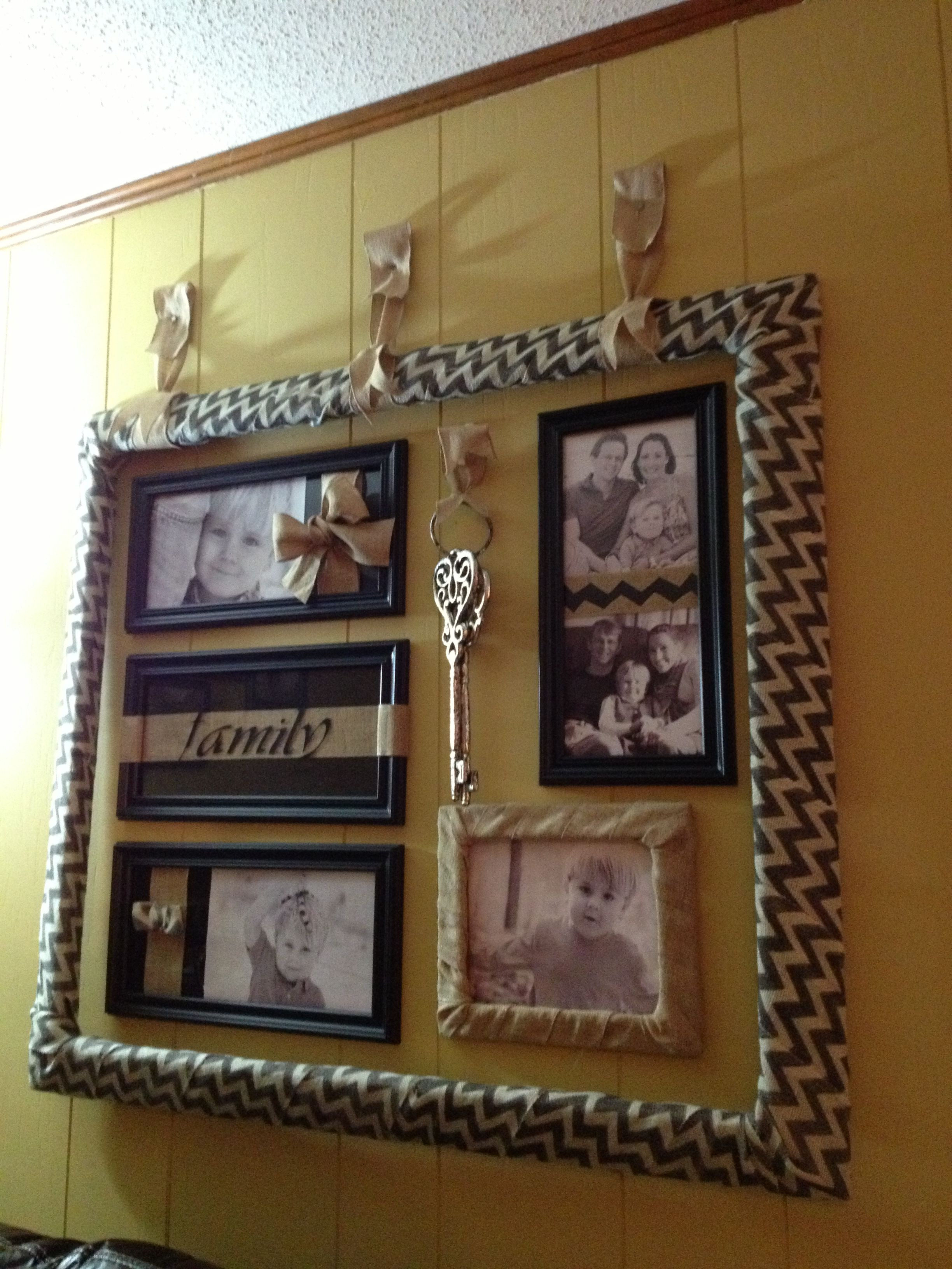 Burlap ribbon wrapped extra large frame with photo collage hung with ...