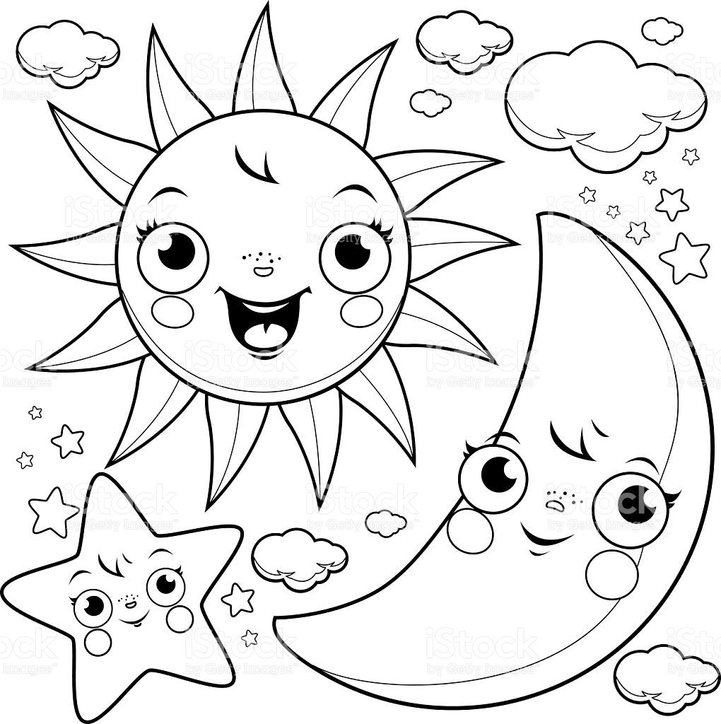 Sun Moon Coloring Pages Star coloring pages, Sun