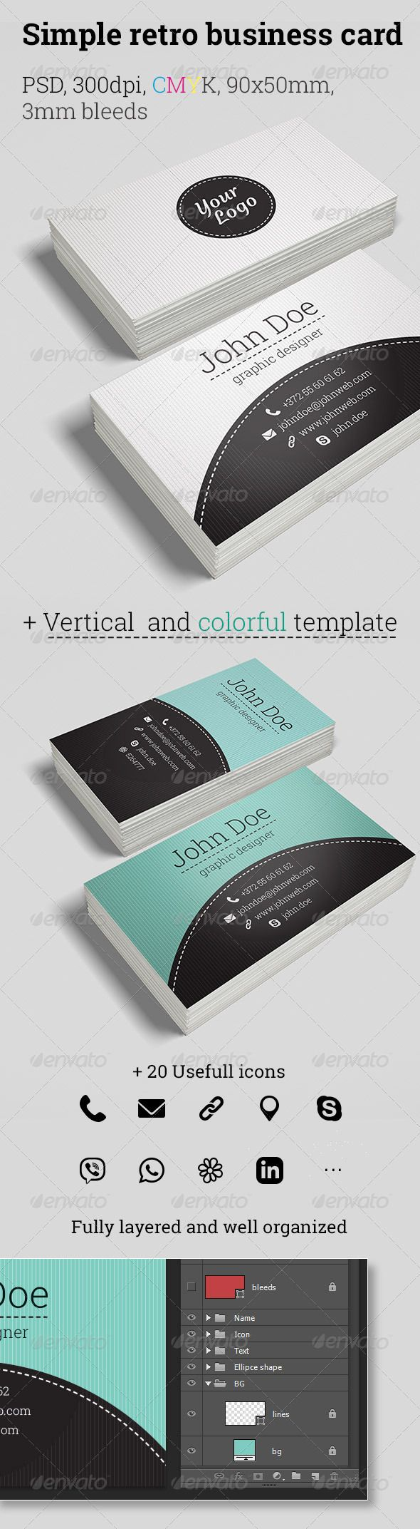 Retro Business Cards | Business cards, Icon pack and Google fonts