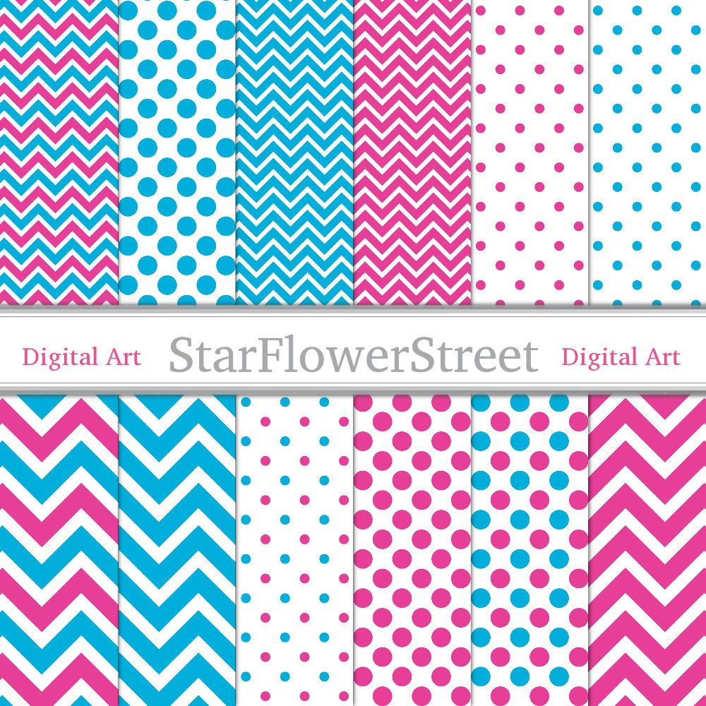 How to make scrapbook paper designs - Pink Blue Chevron Polka Dot Digital Paper Scrapbook Background Small Large Patterns Scrapbooking Photography 8 5x11 Instant Download