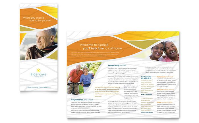 Assisted Living Brochure Design Template by StockLayouts Places - microsoft word tri fold brochure