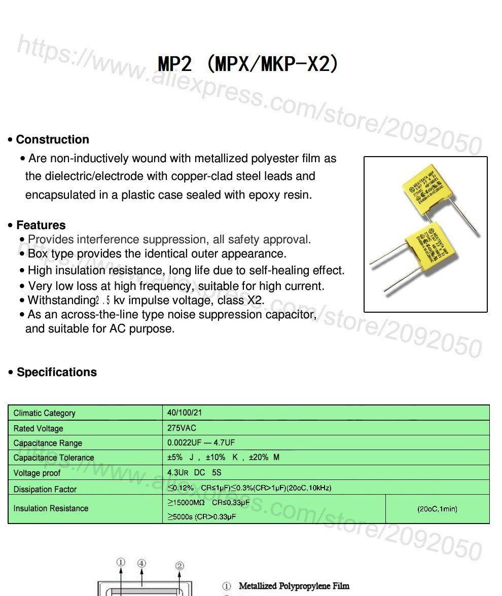 47nf 500pcs Safety X2 275vac Pitch 10mm 15mm 0 047uf 473 10 K 275v Capacitor