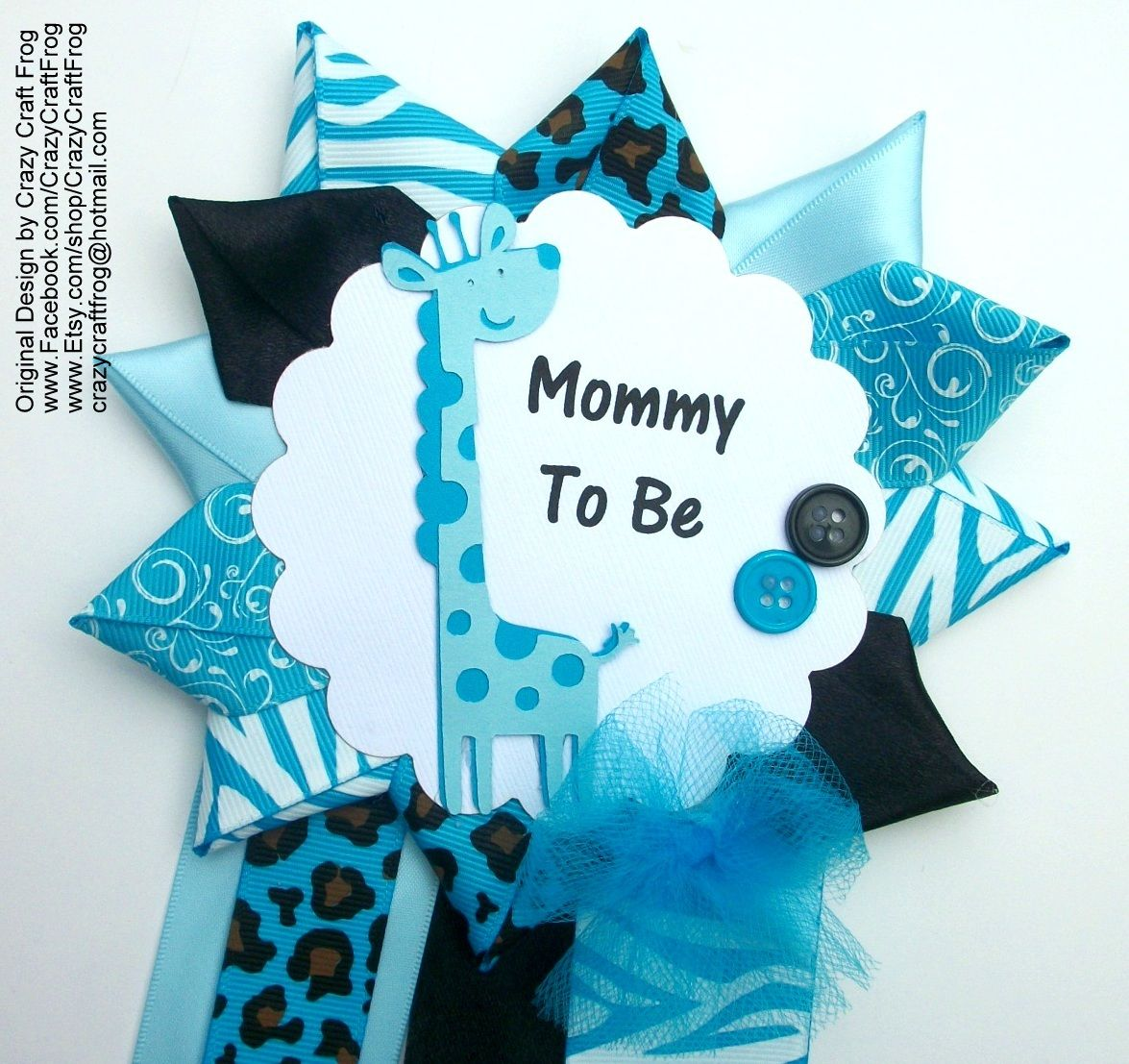 Safari Baby Shower Corsage: Blue Giraffe Baby Shower Corsage For Safari Or Jungle