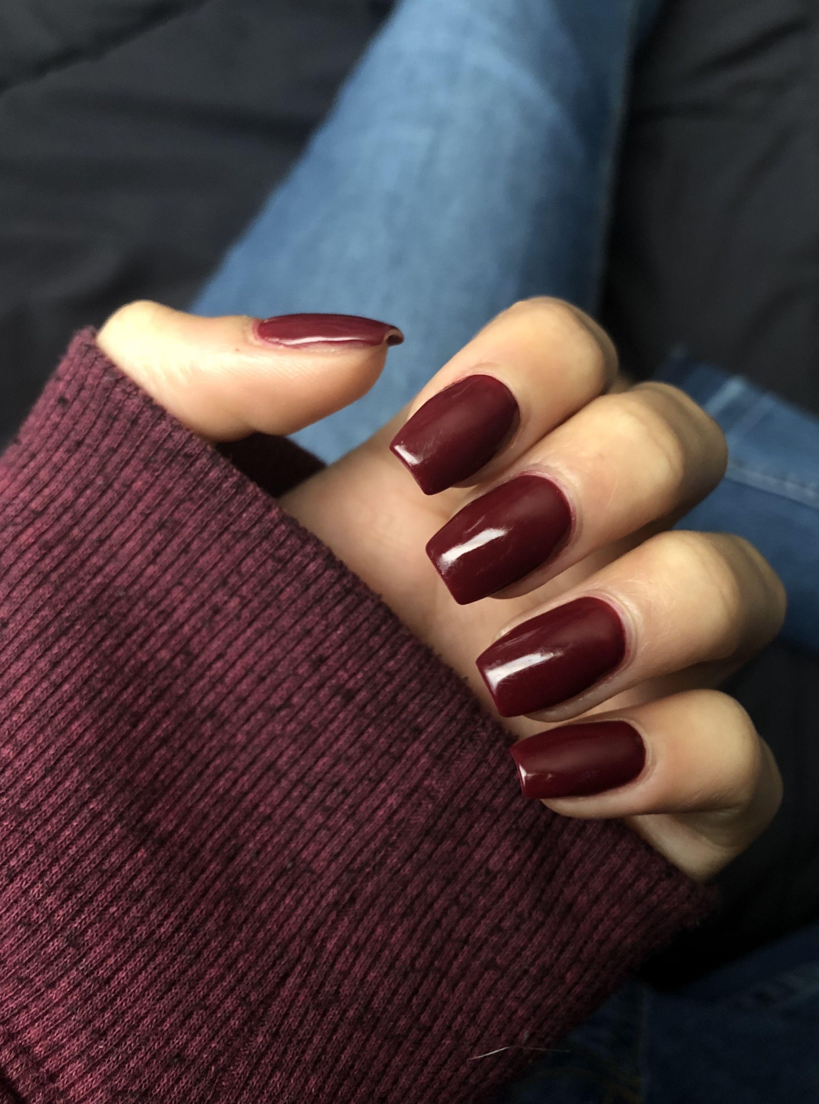 Coffin Shape Acrylic Dip Polish Deep Red Burgundy Polish Fall Color Burgundy Acrylic Nails Squoval Nails Red Nails