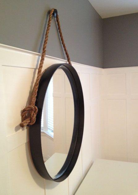 Diy Restoration Hardware Knock Off Iron Rope Mirror Bathroom Mirrors Diy Rope Mirror Restoration Hardware Mirror