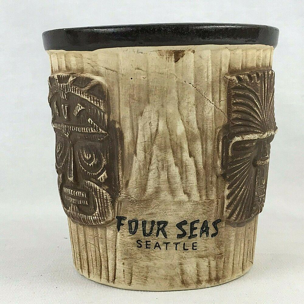 Barrel Tiki Mug. Rubs to Tiki God faces. Four Seas Seattle