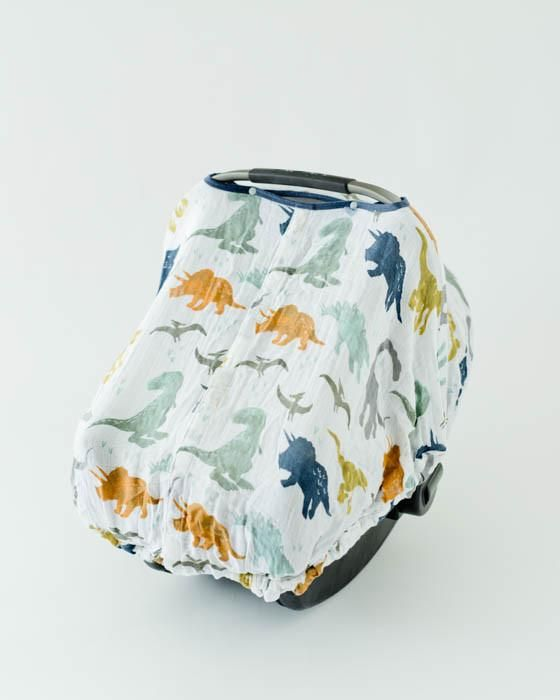 Cotton Muslin Car Seat Canopy - Dino Friends #dinosaurnursery