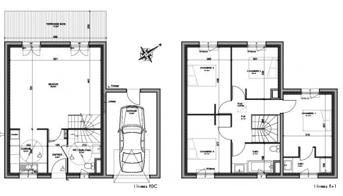 Cliquez pour agrandir le plan de maison neuve T5 de 105,60m² à
