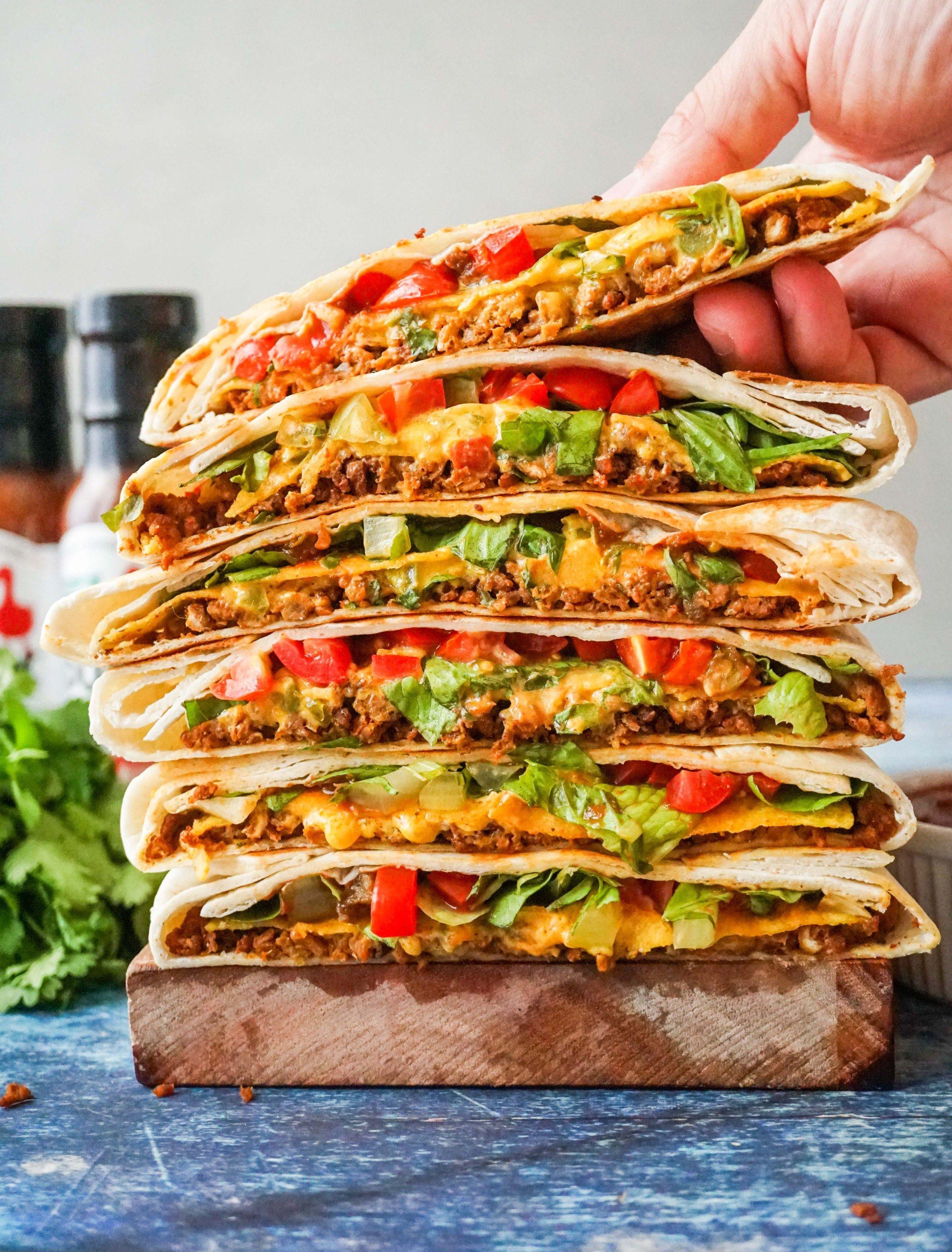 Crunchwrap supreme taco bell copycat vegetarian taco