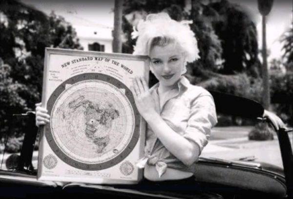 Marilyn Monroe And Gleason's Flat Earth Map