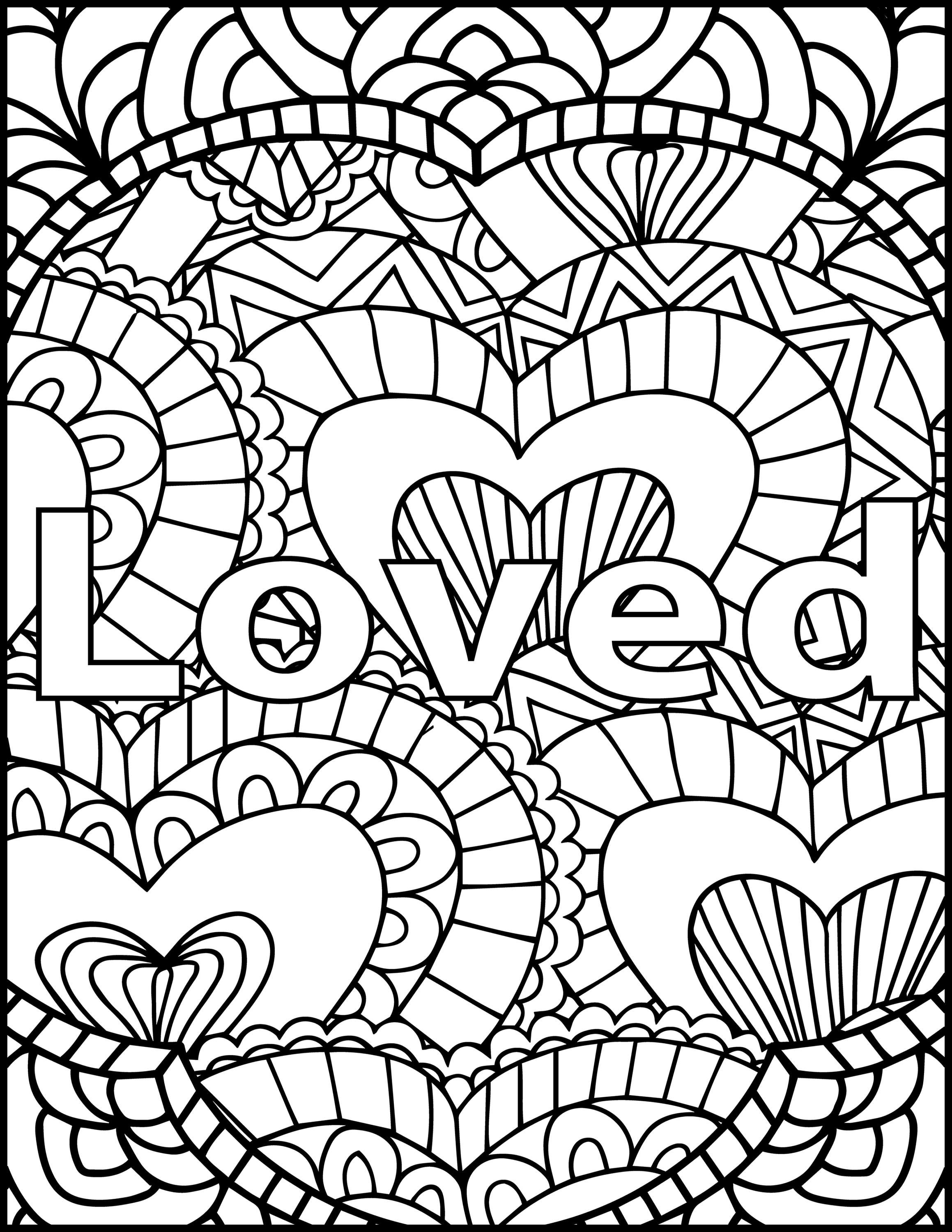 I Am Loved Adult Coloring Page Inspiring Message Coloring Love