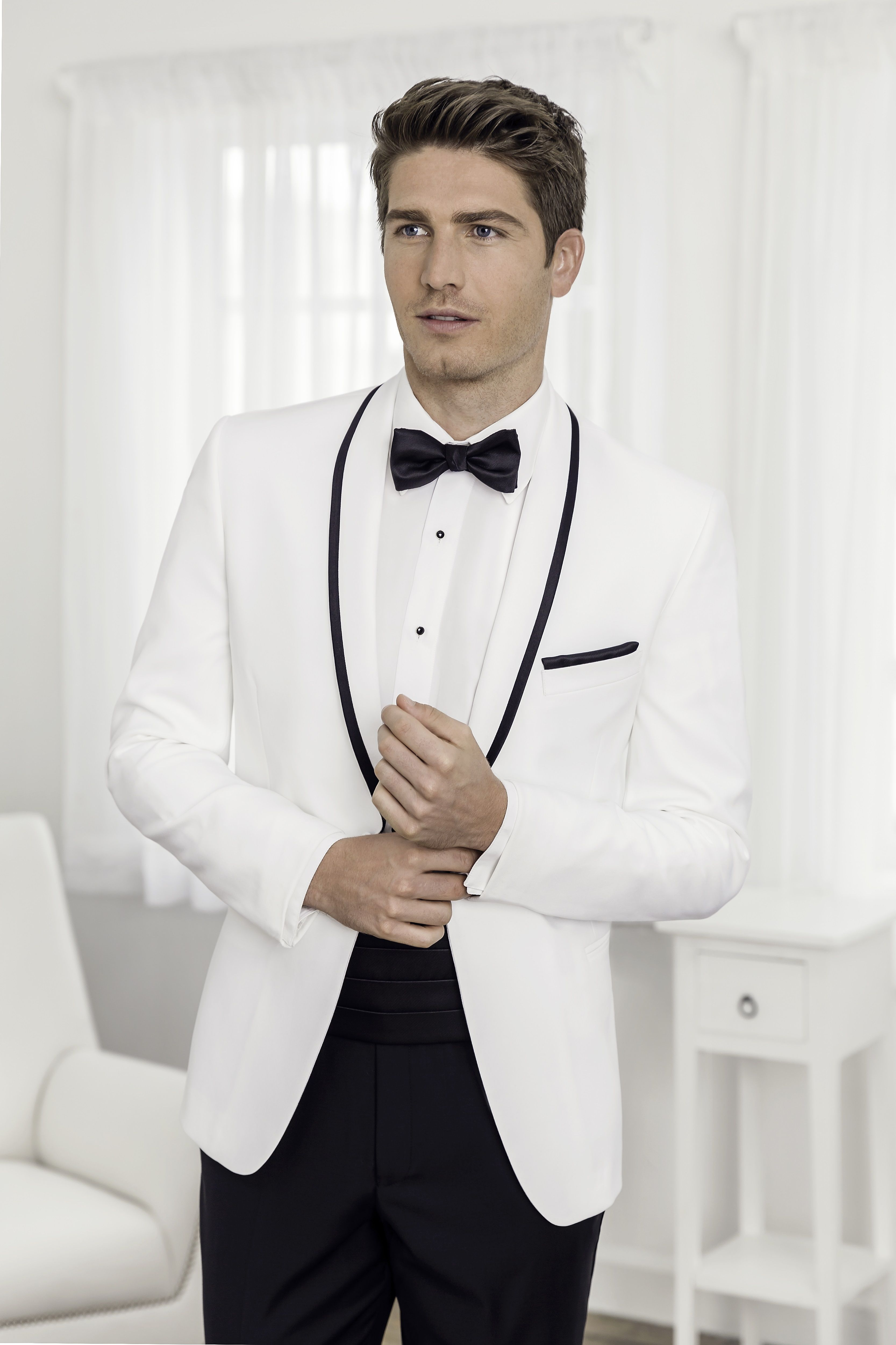 White Tuxedo With Black Trim Tuxedo For Men Prom Suits Custom Made Suits [ 5000 x 3333 Pixel ]