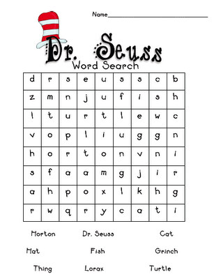 photo about Dr. Seuss Word Search Printable called Pin upon Dr. Seuss