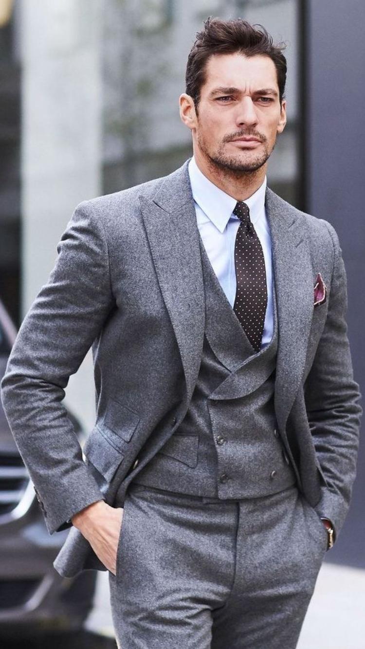 David Gandy in a grey three-piece suit | Mens fashion ...