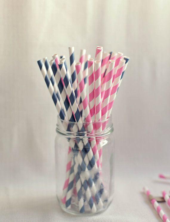 Drinking Straws pink and navy Nautical Theme Straws