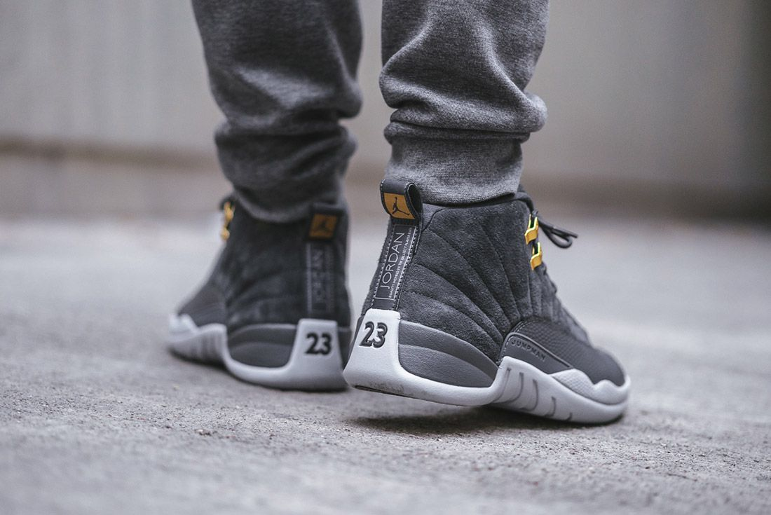 1b8cbb206f3 Air Jordan 12  Dark Grey  Up Close and On-Foot - Sneaker Freaker