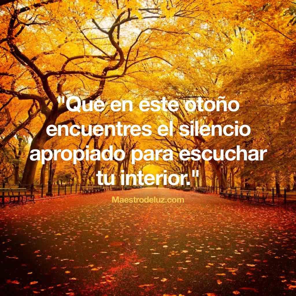 """Nuestro amigo Maestro de Luz comparte con nosotros sus deseos para todos los seres que comienzan el nuevo otoño: """"Que en este otoño encuentres el silencio apropiado para escuchar tu interior."""" (Maestro de Luz)"""