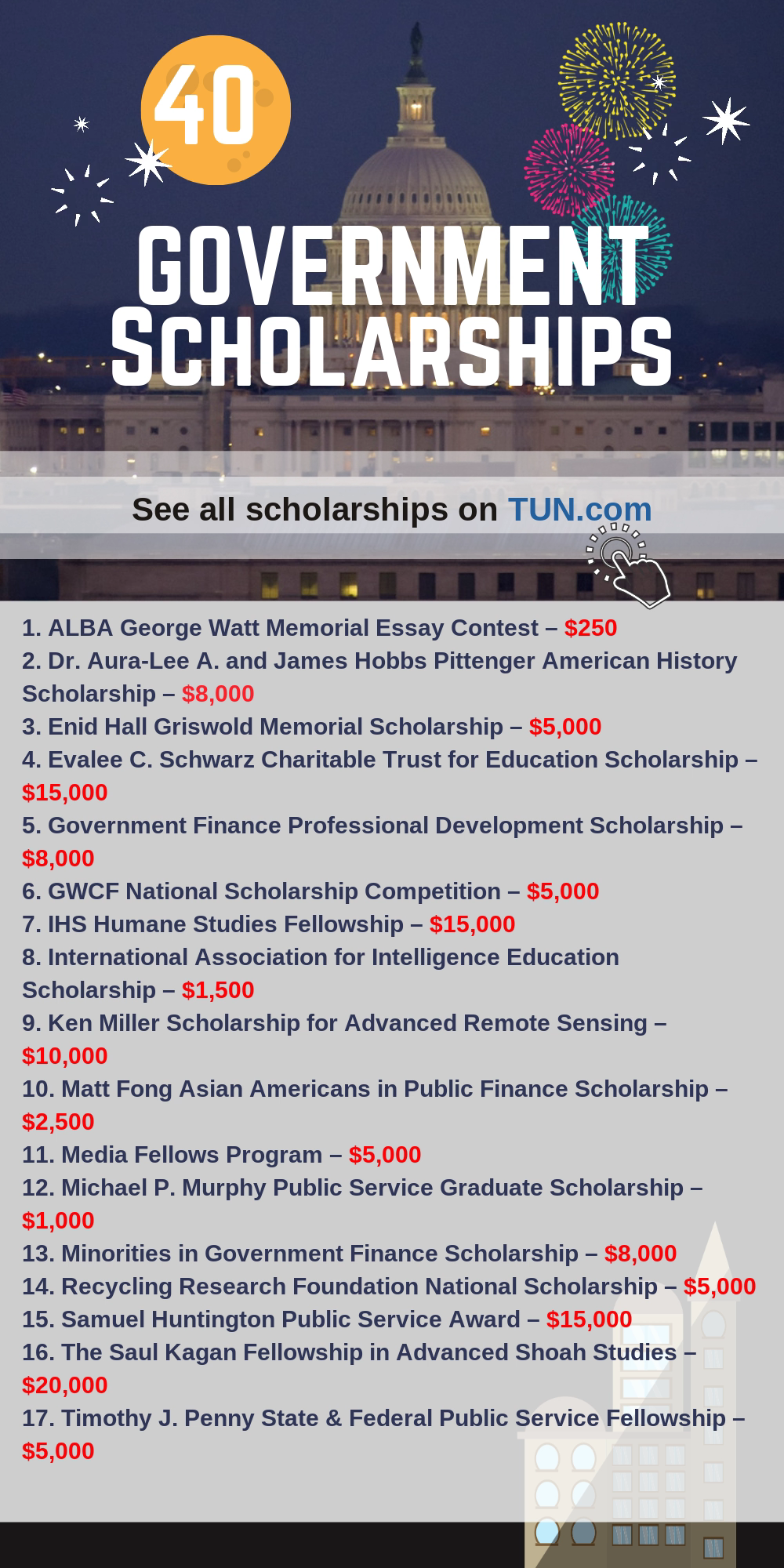 Cause who doesn't want money for college? is a selection of Government Scholarships that are listed on TUN's Scholarship Engine.