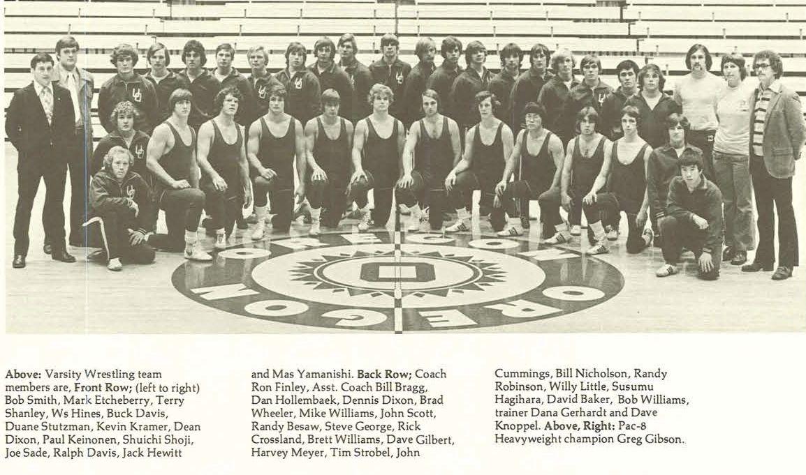 Oregon wrestling team 197475. From the 1975 Oregana